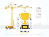 Crane and trophy building. Infographic Template. Vector Illustration.