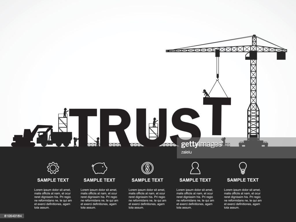 Crane and trust building. Infographic Template. Vector Illustration.