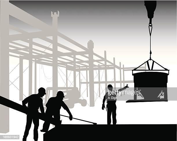 crane'n concrete vector silhouette - pouring stock illustrations, clip art, cartoons, & icons