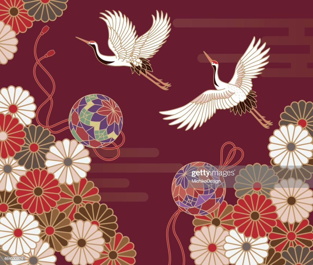 Cranes and chrysanthemums Japanese traditional pattern