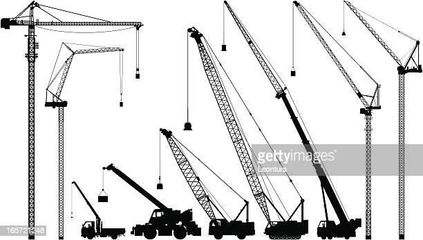 cranes - crane construction machinery stock illustrations