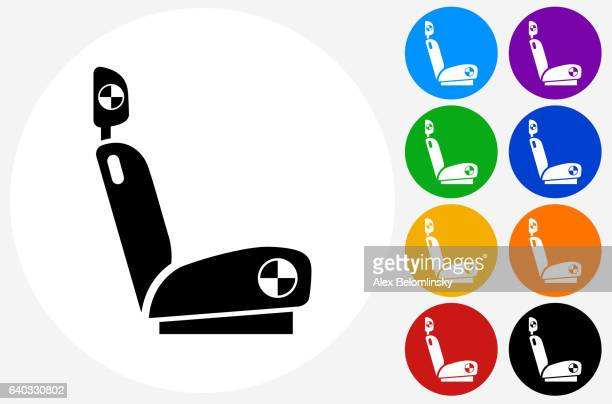 Crash Seat Icon on Flat Color Circle Buttons