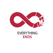 Crashed Infinity Loop conceptual vector special sign. Everything Ends idea.