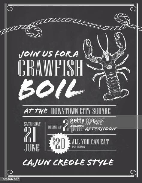 Crawfish Boil chalkboard invitation design template