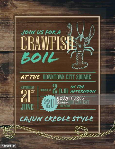 crawfish boil invitation design template blue and turquoise - southern usa stock illustrations, clip art, cartoons, & icons