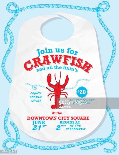 crawfish boil invitation design template on blue rope - crayfish seafood stock illustrations