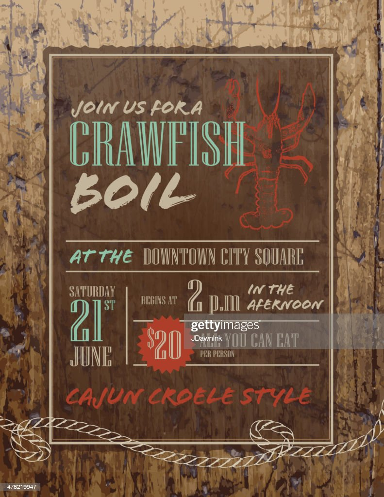 Crawfish Boil invitation design template on rustic wooden background : stock illustration