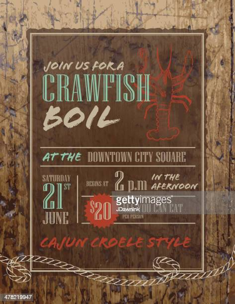 Crawfish Boil invitation design template on rustic wooden background