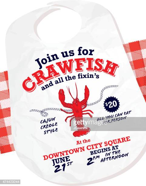 crawfish boil invitation design template on tablecloth background - creole culture stock illustrations
