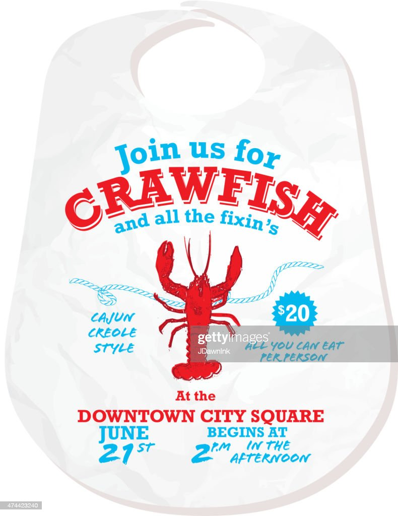 Crawfish Boil Invitation Design Template On White Background Vector