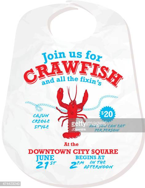 crawfish boil invitation design template on white background - creole culture stock illustrations