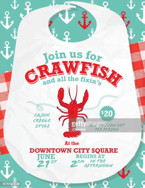 crawfish boil invitation design template on wooden background - creole culture stock illustrations