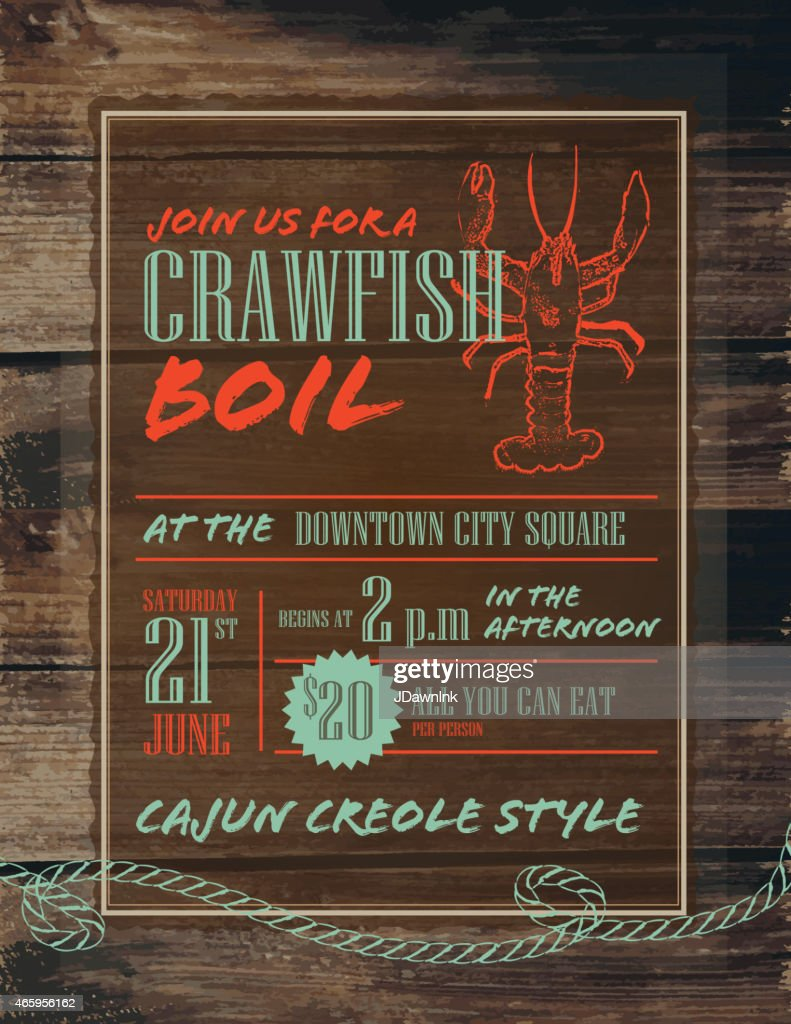 Crawfish Boil invitation design template red and turquoise