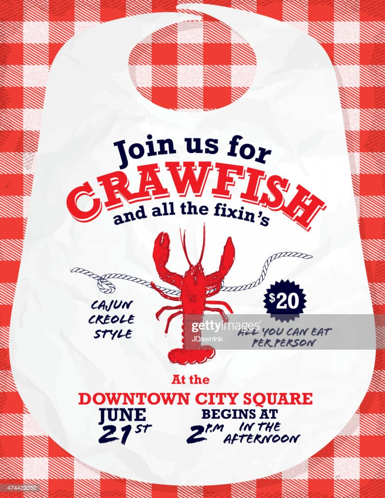 Crawfish Boil invitation design template red and white tablecloth background : stock illustration