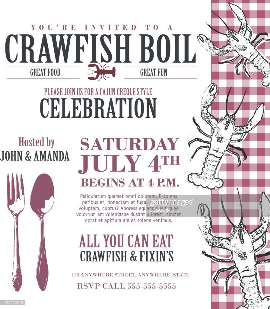 Crawfish Boil Invitation Design Template White With Red Check