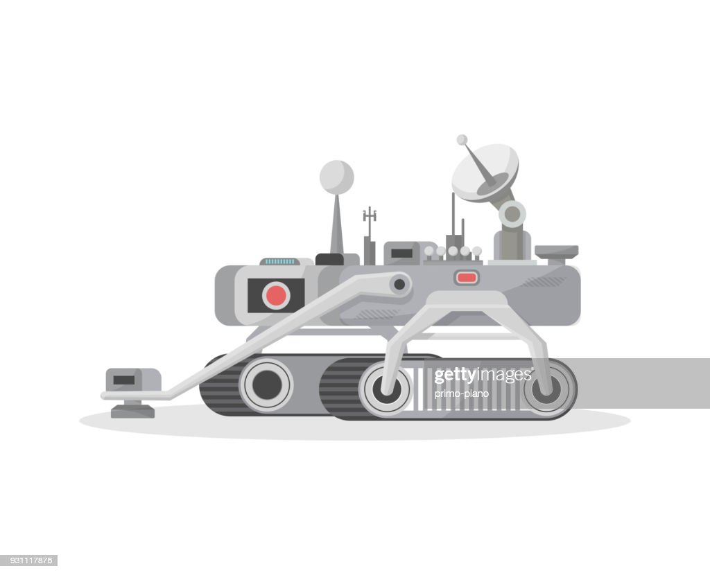 Crawler mars rover isolated vector icon