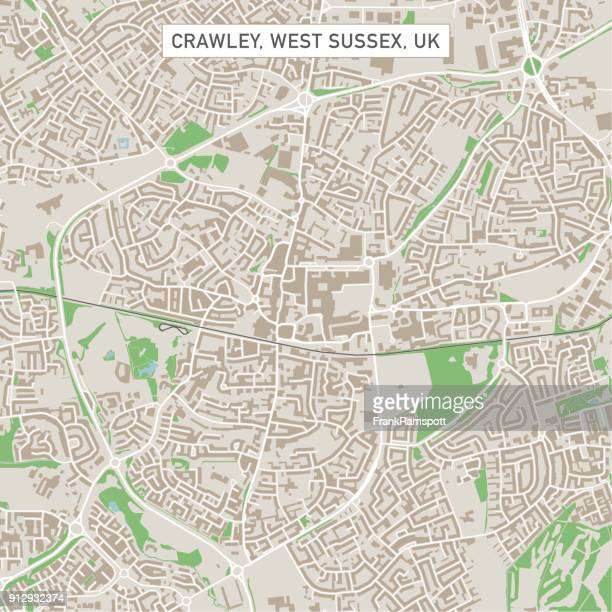 crawley west sussex uk city street map - west sussex stock illustrations