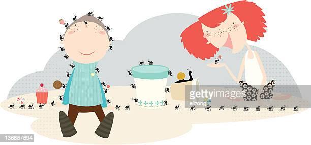 ilustraciones, imágenes clip art, dibujos animados e iconos de stock de gatear ants - hormiga