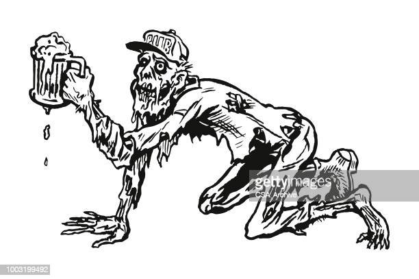crawling zombie drinking a beer - stag night stock illustrations, clip art, cartoons, & icons