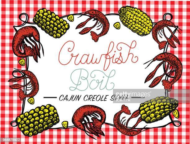 crayfish or crawfish boil invitation design template - creole culture stock illustrations