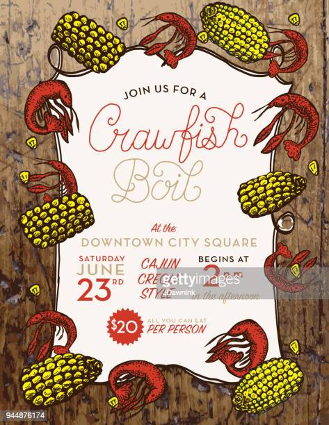 crayfish or crawfish boil invitation design template - crayfish seafood stock illustrations