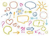 Crayon drawing speech bubbles, arrows, heart shape, smile, sign, symbols funny set.