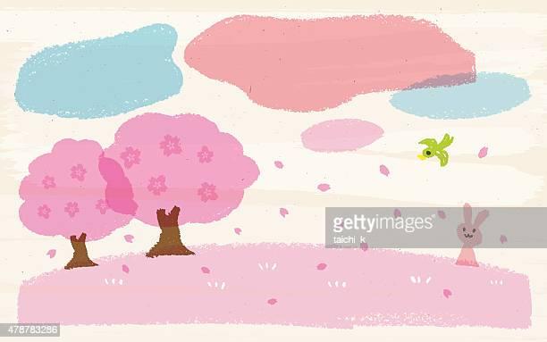 ilustraciones, imágenes clip art, dibujos animados e iconos de stock de cera de resorte - cherry tree