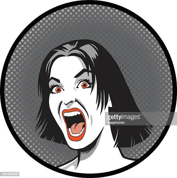 ilustraciones, imágenes clip art, dibujos animados e iconos de stock de mujer deseoso de primer plano - tirarse de los pelos