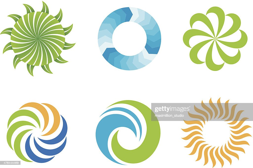 Crazy beautifl green nature circles logo design symbol