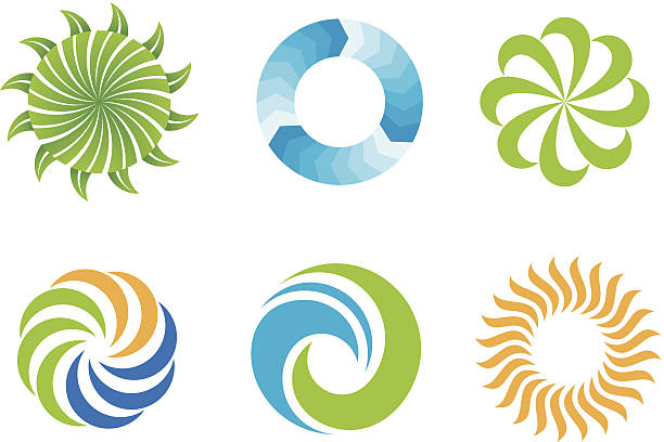 crazy beautifl green nature circles logo design symbol - swirl stock illustrations
