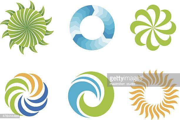 crazy beautifl grün natur ringe logo-design-symbol - logo stock-grafiken, -clipart, -cartoons und -symbole