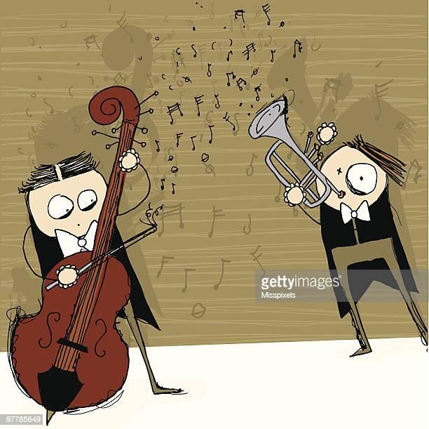 crazy classic symphony duet - vector challenge november - double bass stock illustrations, clip art, cartoons, & icons