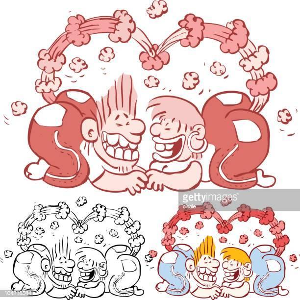 ilustraciones, imágenes clip art, dibujos animados e iconos de stock de crazy pareja - pedo