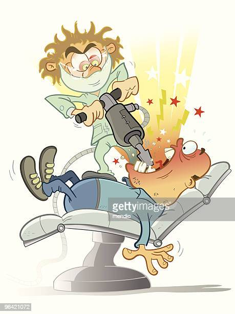 crazy dentist - dental drill stock illustrations
