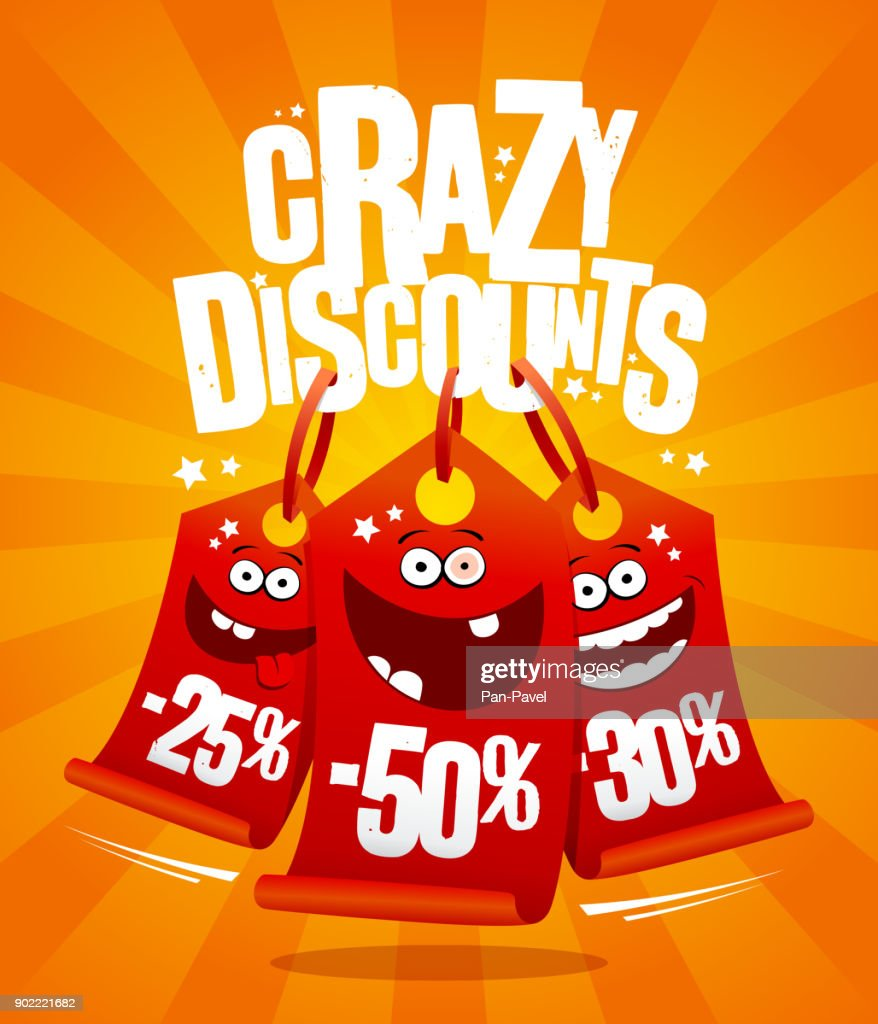 Crazy discounts vector poster concept with madness smiling price tags