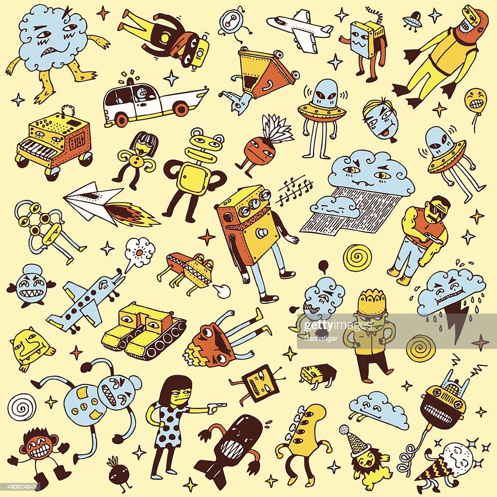 Crazy doodle mega set. Vector illustration.