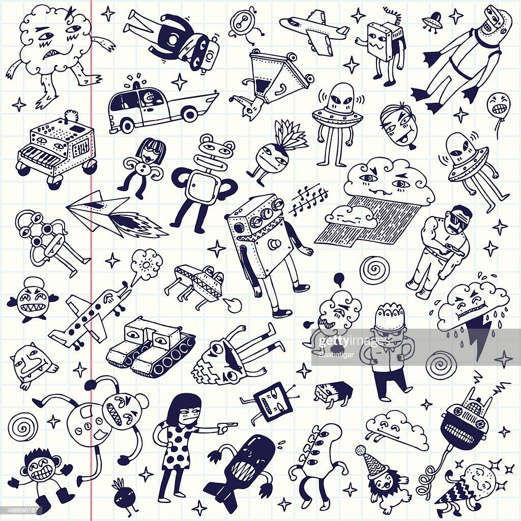 Crazy doodle school notebook mega set. Vector illustration.