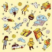 Crazy doodles. Vector illustration.