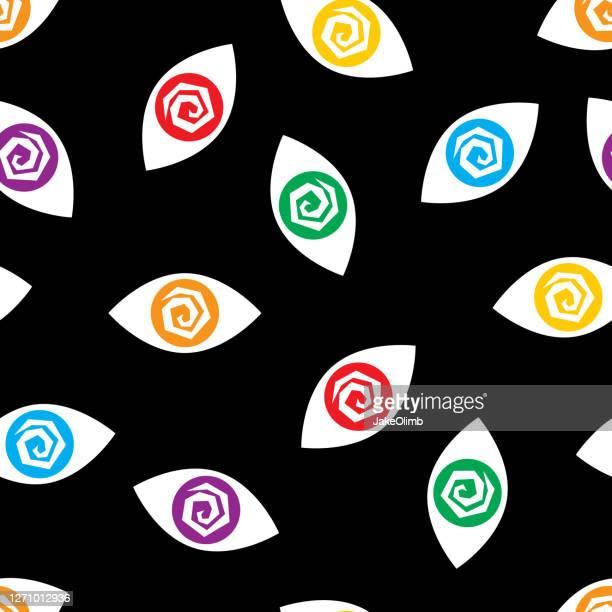 crazy eyes pattern colorful - magic eye stock illustrations