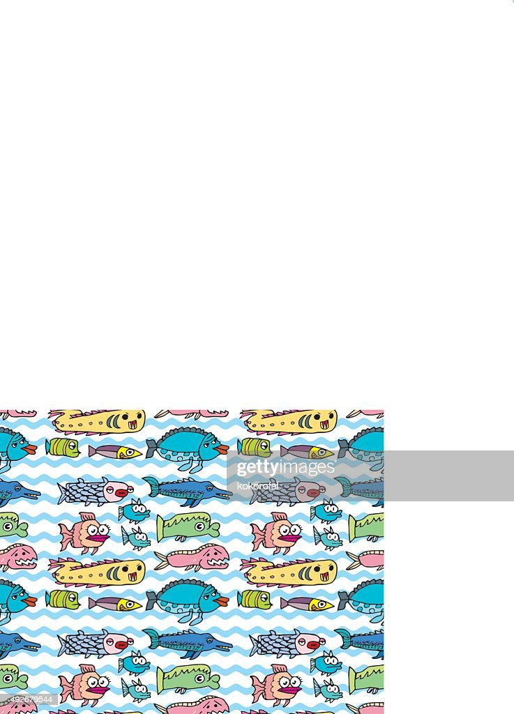 Crazy fishes seamless pattern