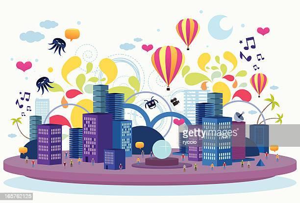 crazy flat city - arts culture et spectacles stock illustrations