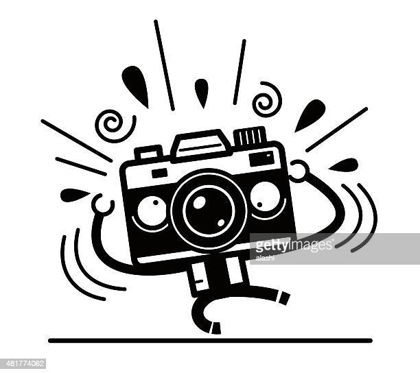 crazy full length unique camera character screaming for help - camera operator stock illustrations, clip art, cartoons, & icons