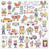 Crazy funny colorful doodles set. Hand drawn vector illustration.