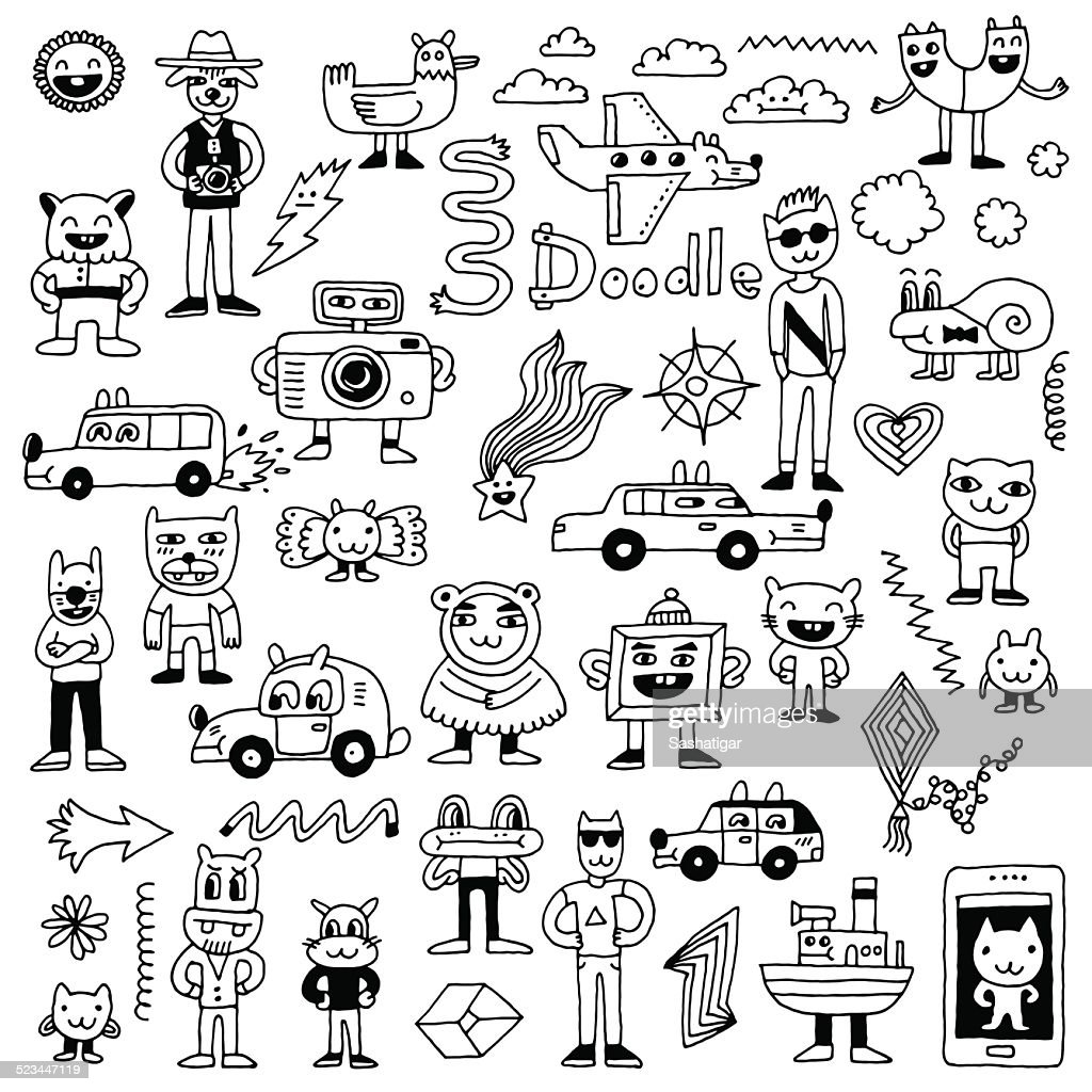 Crazy funny doodles set. Hand drawn vector illustration.