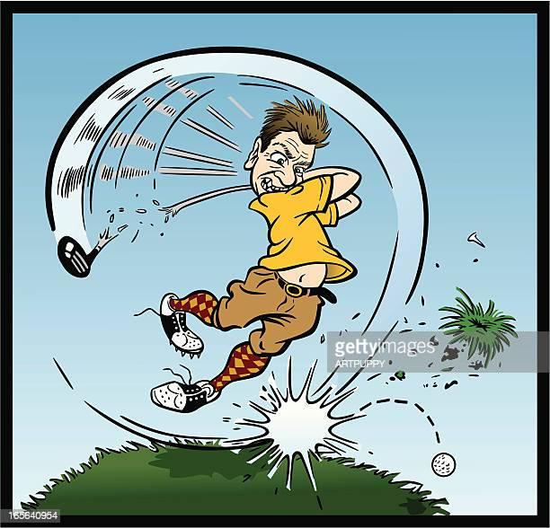 crazy golfer - golf swing stock illustrations, clip art, cartoons, & icons
