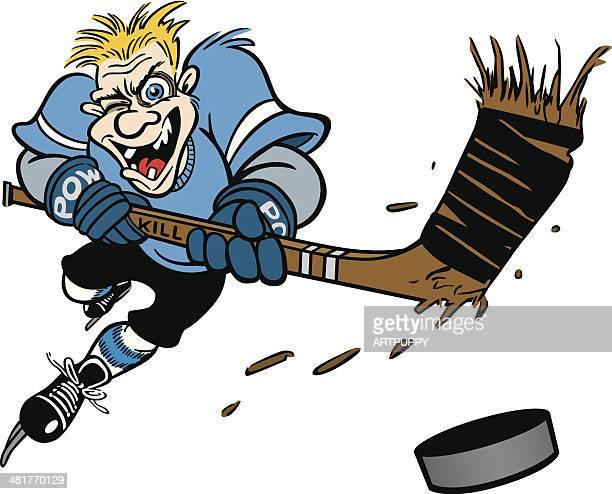 crazy hockey player - hockey stick stock illustrations