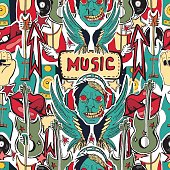 Crazy punk rock abstract background. Skulls, zombie,