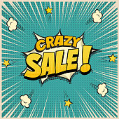 Crazy Sale word on pop art or comic book background. Vector illustration.