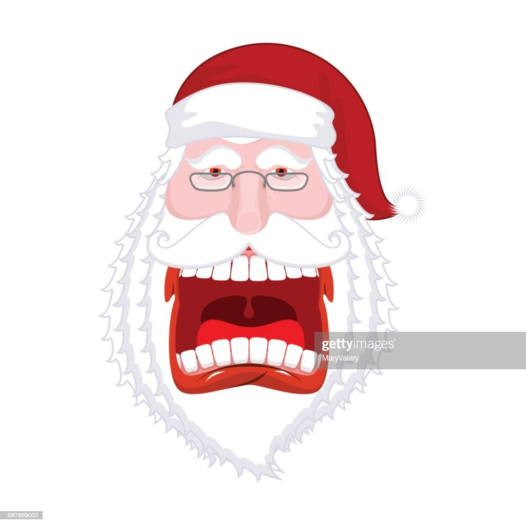 Crazy Santa Shout Scary Grandfather Yelling Open Mouth And Teeth ...