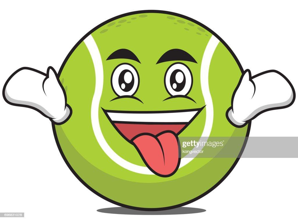 Crazy tennis ball cartoon character vector illustration